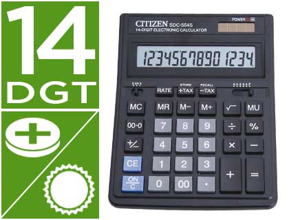 CALCULADORA CITIZEN SOBREMESA SDC-554S 14 DIGITOS